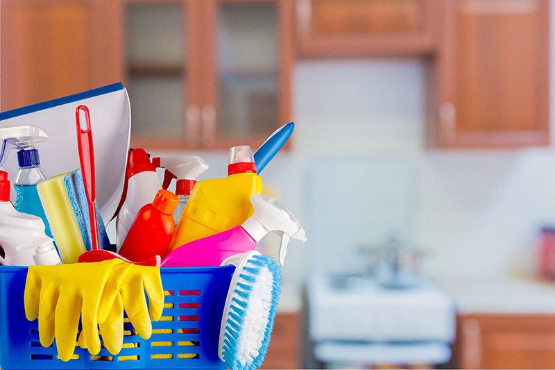 cleaning items in a bucket Prevent Home Insurance Claims by Spring Cleaning