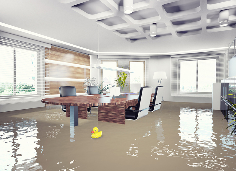 an office flooded