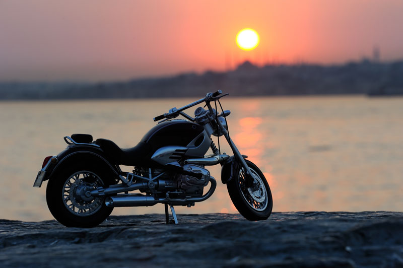 motorcycle against sunset