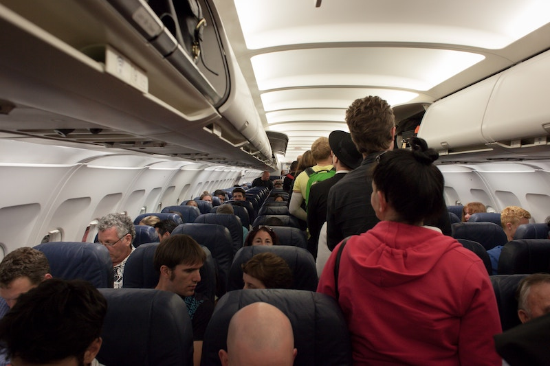 a crowded airplane