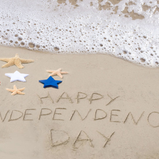 happy independence day on a beach